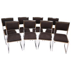 Set of 8 Willy Rizzo Brass and Chrome Chairs, circa 1970