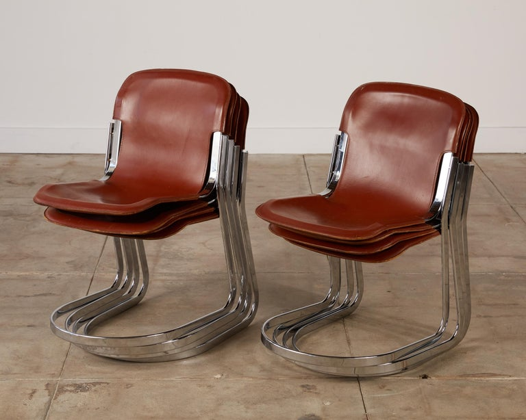 Set of 8 Willy Rizzo Chrome and Leather Dining Chairs for Cidue 5