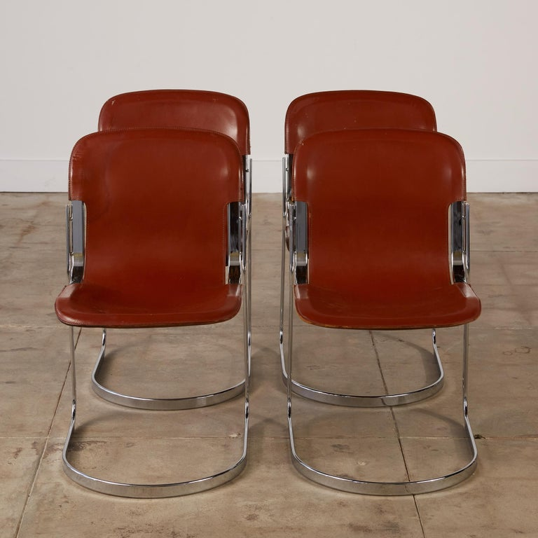Mid-Century Modern Set of 8 Willy Rizzo Chrome and Leather Dining Chairs for Cidue