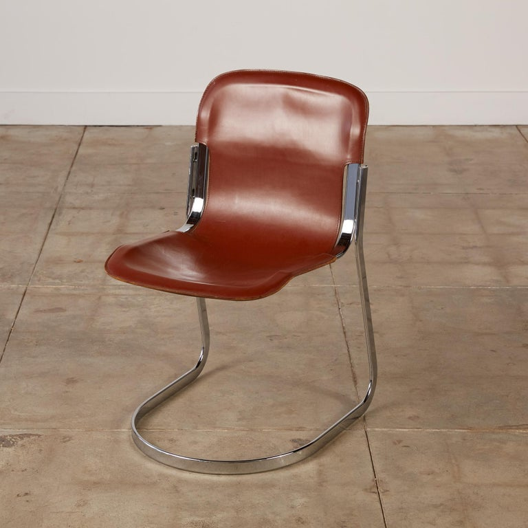 Italian Set of 8 Willy Rizzo Chrome and Leather Dining Chairs for Cidue