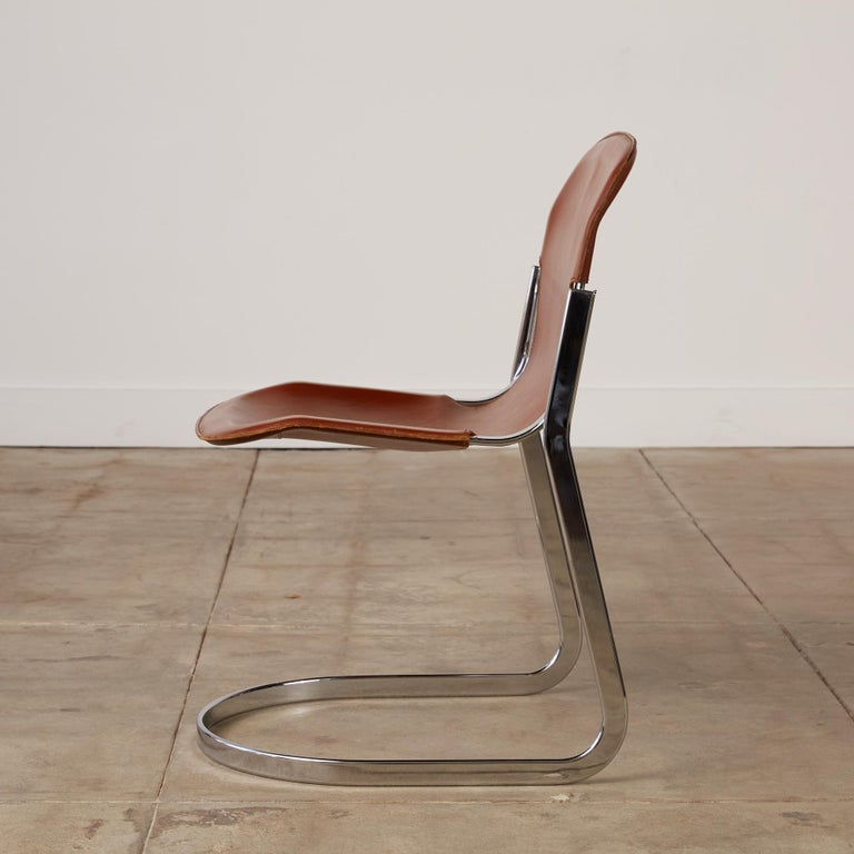 Set of 8 Willy Rizzo Chrome and Leather Dining Chairs for Cidue In Good Condition In Los Angeles, CA