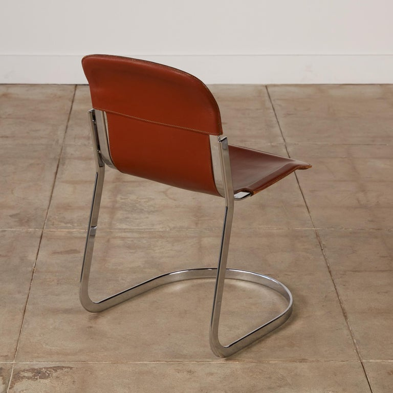 Late 20th Century Set of 8 Willy Rizzo Chrome and Leather Dining Chairs for Cidue