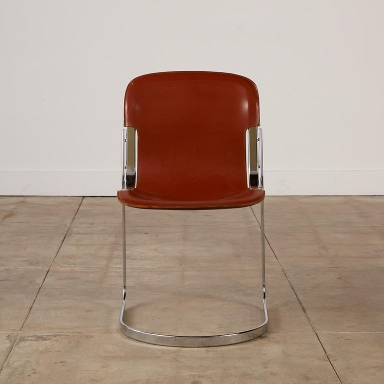Set of 8 Willy Rizzo Chrome and Leather Dining Chairs for Cidue 1