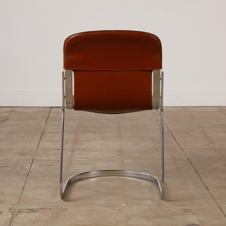Set of 8 Willy Rizzo Chrome and Leather Dining Chairs for Cidue 2