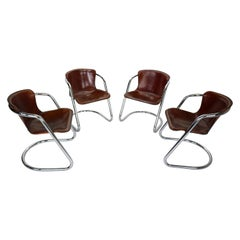 Set of 8 Willy Rizzo Leather Dining Chairs for Cidue, 1970s, Italy