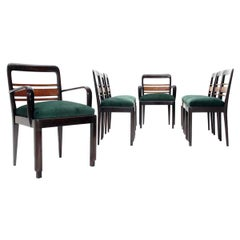 Set of 8 Wood and Green Velvet Italian Dining Chairs, 1930s