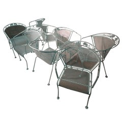 Set of 8 Woodard Mid Century Outdoor Patio Chairs with Table