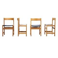Set of 8 Yngvar Sandström Dining Room Chairs in Solid Oak by Nordiska Kompaniet