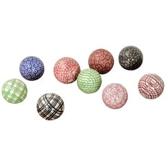 Set of 9 19th Century Scottish Carpet Balls