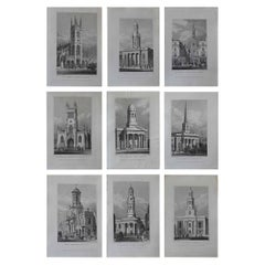 Set of 9 Antique Architectural Prints of London Churches, 1828