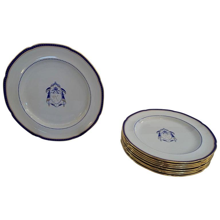 Set of 9 Antique Copeland Spode Dinner Plates For Sale