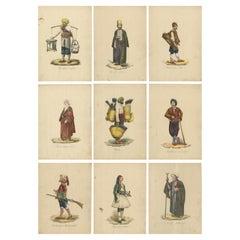 Set of 9 Antique Costume Prints, Turkey, Albania, Anatolia, 'c.1840'