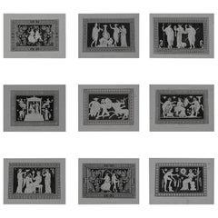 Set of 9 Antique Prints of Greek Ornamental Panels, Dated 1819