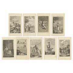 Set of 9 Antique Prints of various Figures and Objects 'c.1790'