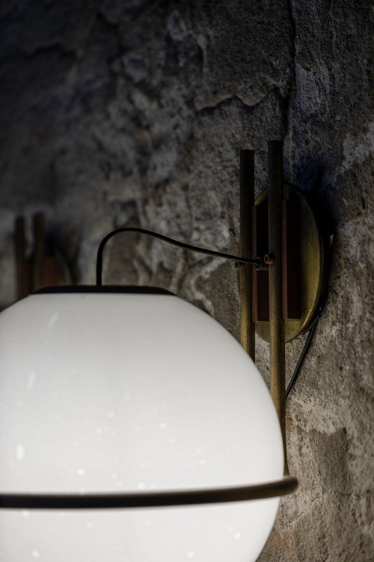 Italian Set of 9 Brass and Glass Wall Lights from the 1970s