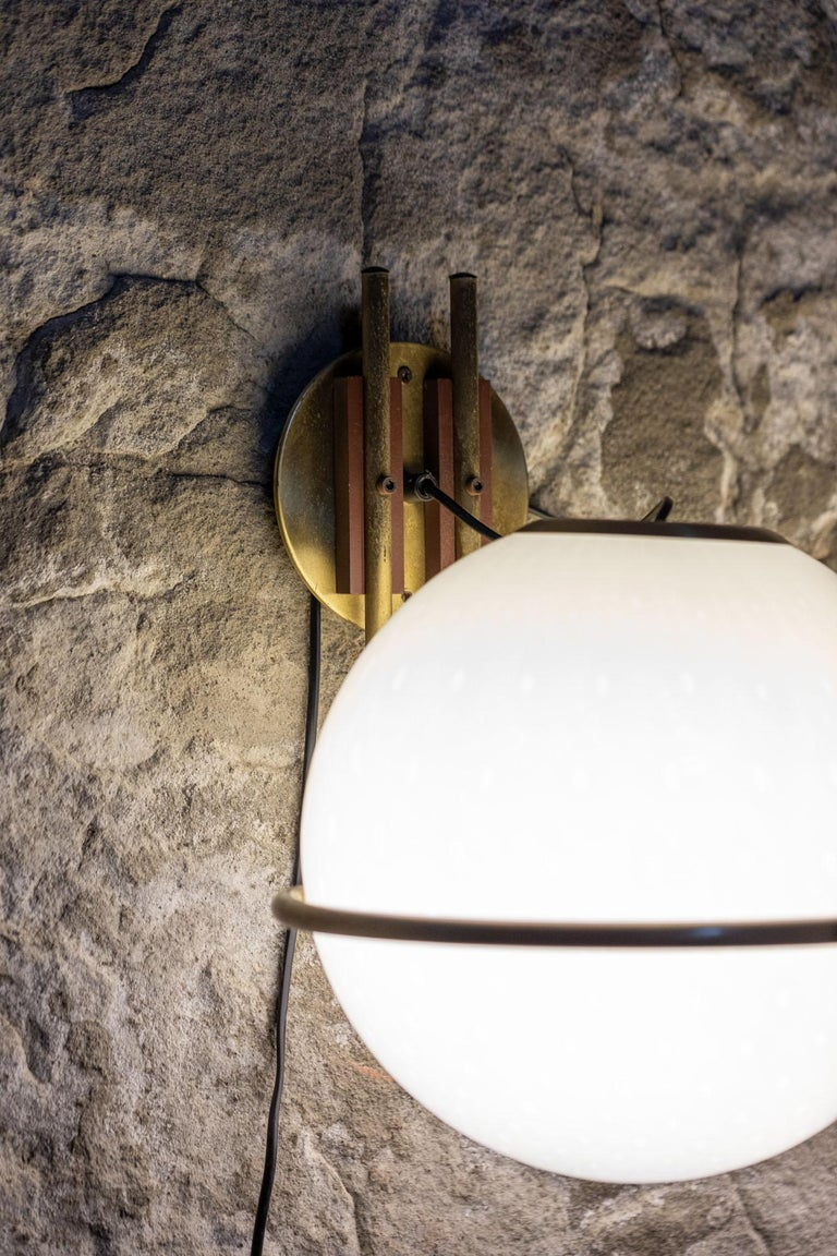 Late 20th Century Set of 9 Brass and Glass Wall Lights from the 1970s