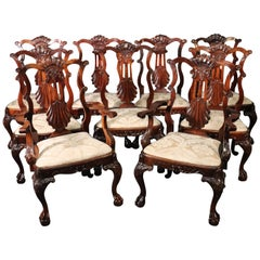 Set of 9 Carved Mahogany Irish Shell and Ball and Claw Chippendale Dining Chairs