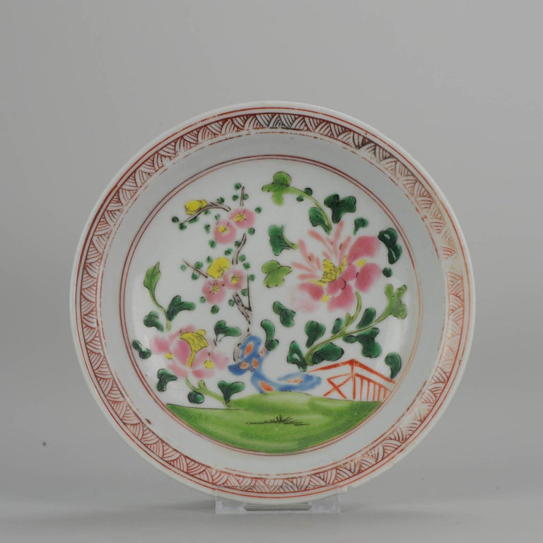 A very nice set of decorated plates. These wares and their specific characteristics of wild color and thick enamel have all the characteristics that we can also find in straits and Bencharong wares. We quite often find whole collections of these