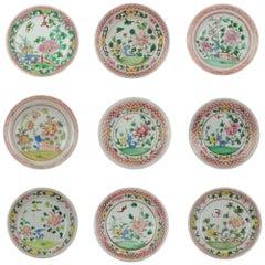 Set of 9 Chinese Porcelain Plates, SE Asian Market Straits Bencharong