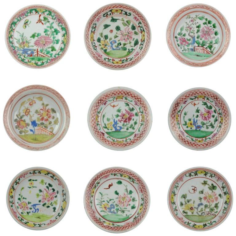 Set of 9 Chinese Porcelain Plates, SE Asian Market Straits Bencharong For Sale