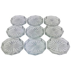 Set of 9 Crystal Wine or Champagne Flute Coasters Attributed to Baccarat