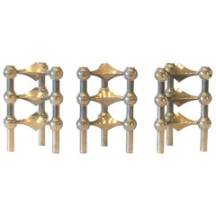 Set of 9 Fritz Nagel & Caesar Stoffi Stacking Stainless Steel Candleholders