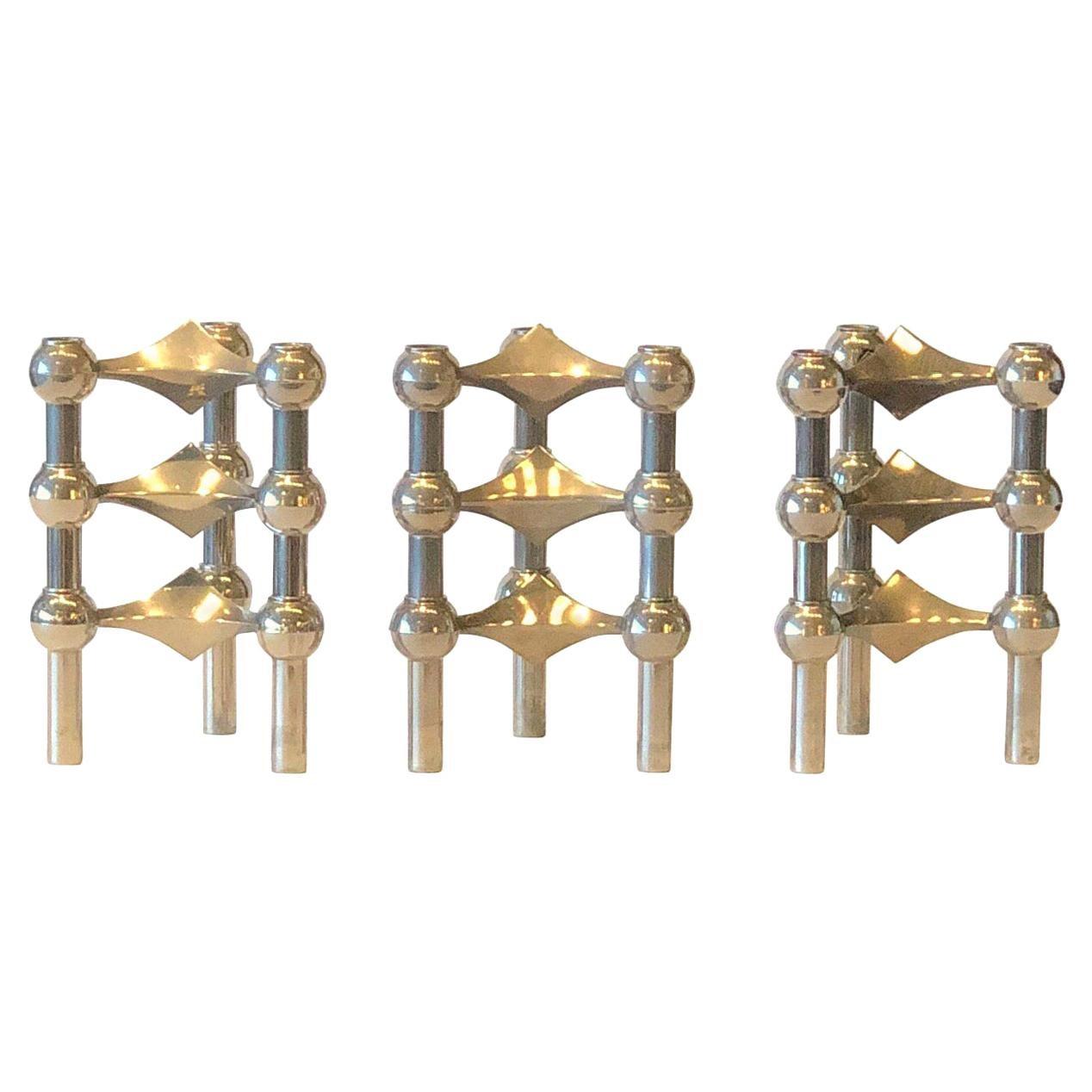 Set of 9 Fritz Nagel & Caesar Stoffi Stacking Stainless Steel Candleholders