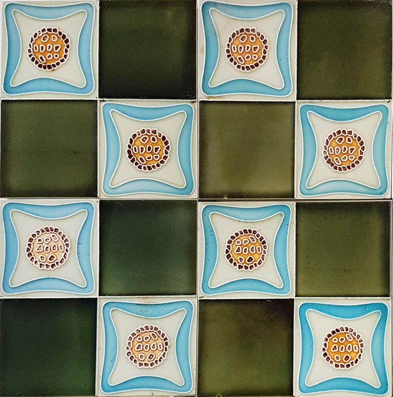 Set of 9 Glazed Art Deco Relief Tiles, Muster, 1930s In Good Condition For Sale In Rijssen, NL