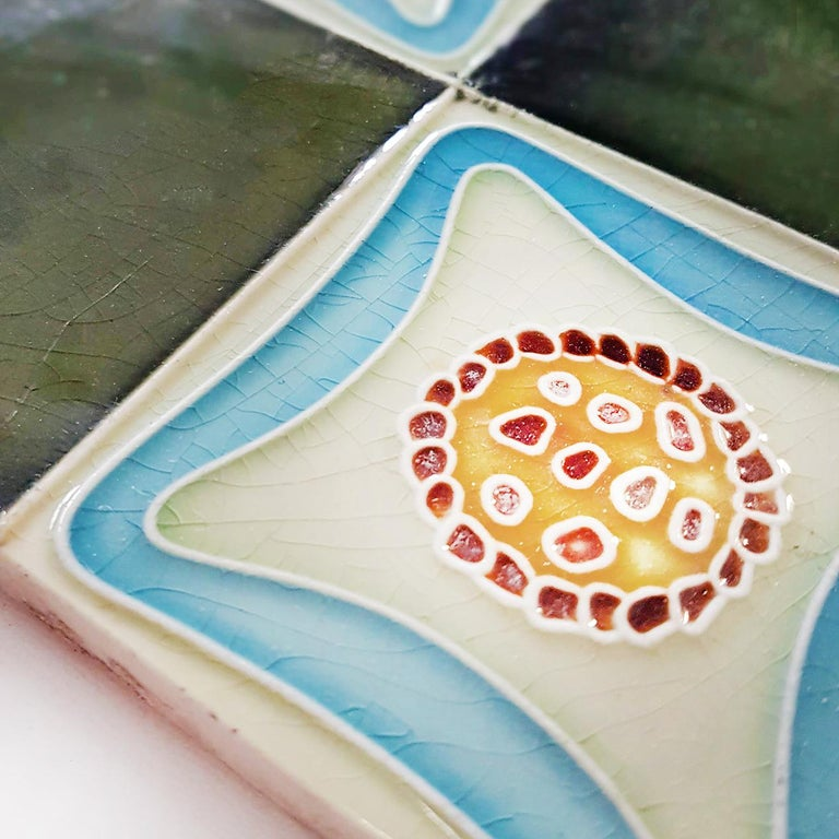Set of 9 Glazed Art Deco Relief Tiles, Muster, 1930s For Sale 1