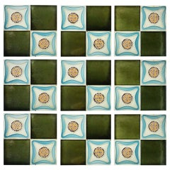 Set of 9 Glazed Art Deco Relief Tiles, Muster, 1930s