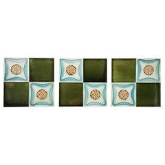 Set of 9 Glazed Art Deco Relief Tiles, Muster, 1930s
