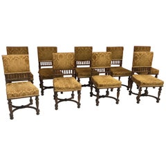 Set of 11 Henri Chairs in Walnut and Velvet
