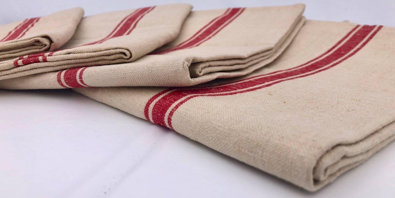These Are Set Of Nine Large French Linen Kitchen Towels With Red Stripes From The 1950s