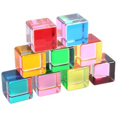 Set of 9 Lucite Cubes by Vasa Velizar Mihich