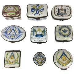 Set of 9 Masonic 19th Century Decorative Boxes by Limoges Porcelain, France