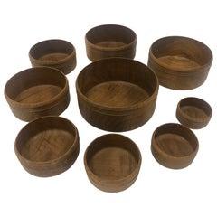 Set of 9 Olive Wood Nesting Hand Carved Bowls