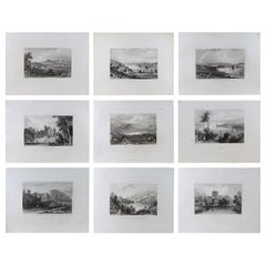 Set of 9 Original Antique Prints of Ireland, circa 1830