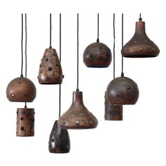 Set of 9 Peill and Putzler Copper and Blown Glass Pendants