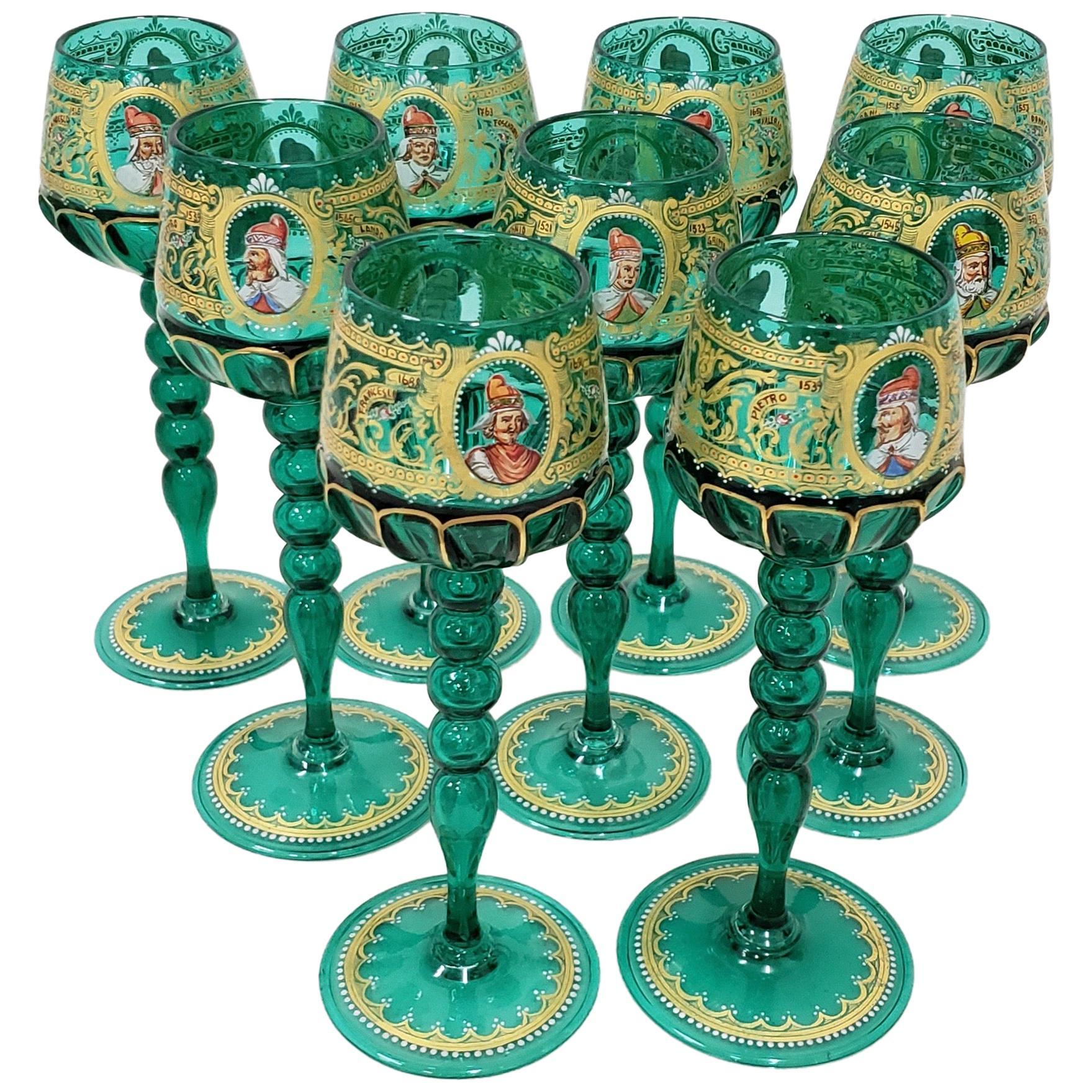 Set of 9 Salviati Murano Wine Glasses Hand Painted with Notable Venetian Figures