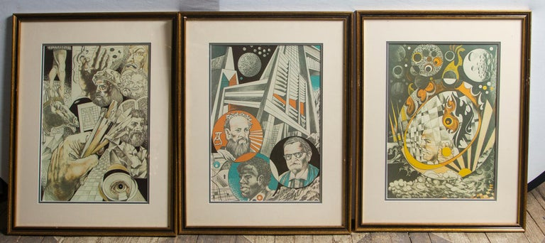 20th Century Set of 9 Science Fiction Prints For Sale
