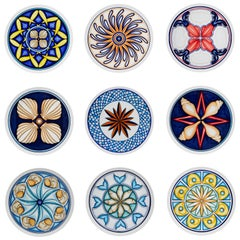 Set of 9 Sicilian Clay Hand-Painted Colapesce Dinner Plates, Made in Italy