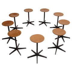 Set of 9 Sturdy Industrial Stools by Dutch Manufacturer Galvanitas, 1970's