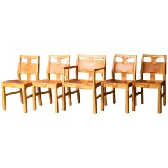 Set of A. Brandt Custom Leather Dining Chairs, circa 1940-1950