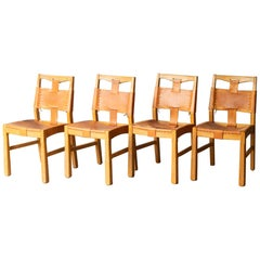 Set of A. Brandt Custom Leather Dining Chairs, circa 1940-1950-Two Available