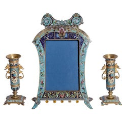 Set of a Pair of Closionne Candlesticks and a Picture Frame, France, circa 1890