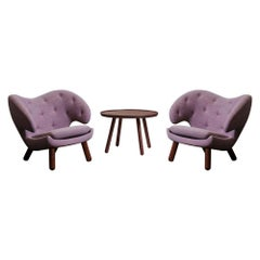 Set of a Pelican Table and Two Pelican Chairs by Finn Juhl