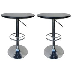 Set of Adjustable Contemporary Modern Cocktail Chrome Cocktail Tables