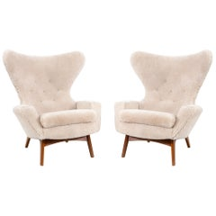 Set of Adrian Pearsall Wingback Chairs Freshly Reupholstered in Shearling