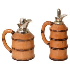 Set of Aldo Tura Midcentury Bamboo and Metal Italian Thermos for Macabo, 1950s