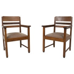 Set of Amsterdam School Arm Chairs, the Netherlands, 1930s